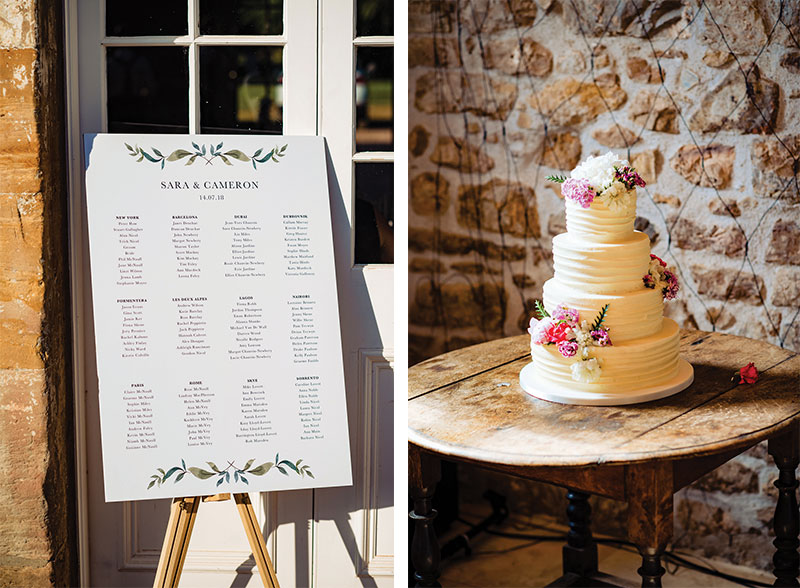 table plan and cake