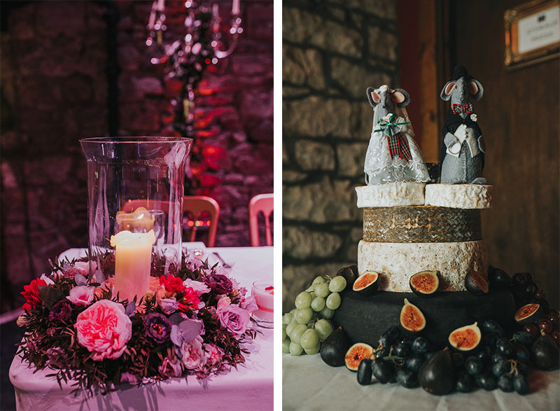 centrepieces and cheese cake