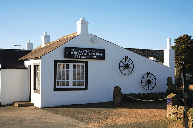 """""""Legend has it that if you touch the Gretna Green anvil, you'll gain good luck in affairs of the heart,"""" says Michelle Hall at The Famous Blacksmiths Shop"""