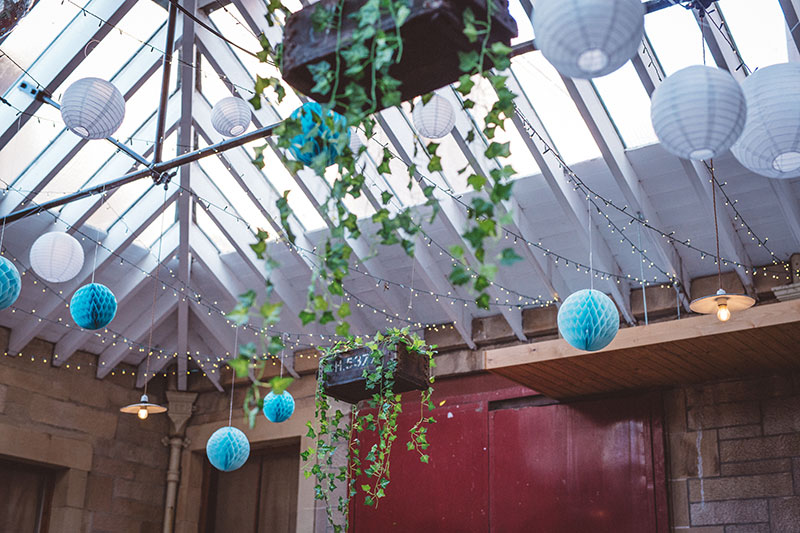 paper decorations on glasshouse roof