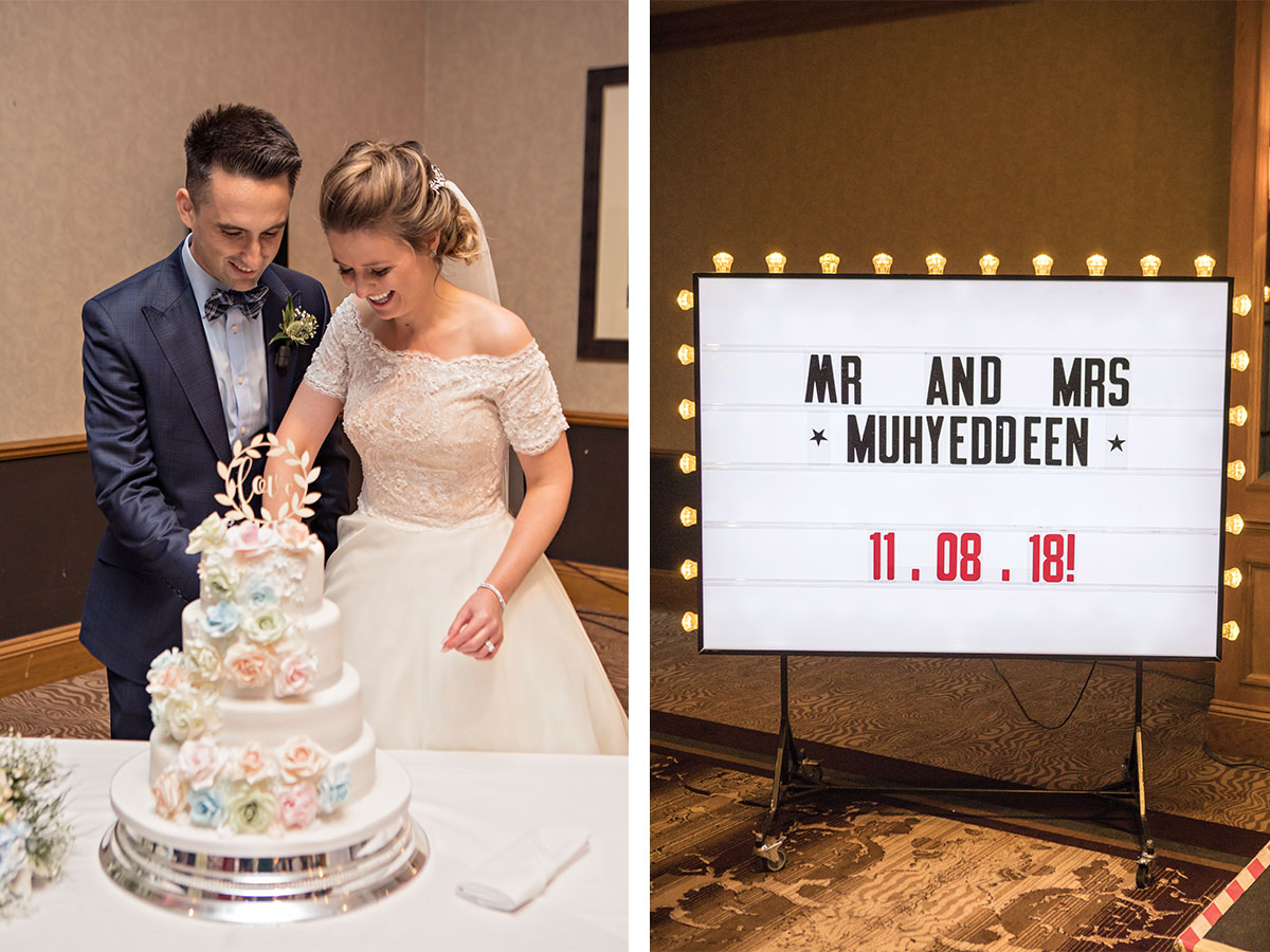 bride-and-groom-cutting-their-cake-and-wedding-cinema-sign