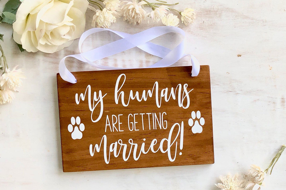 My humans are getting married sign for pets at weddings