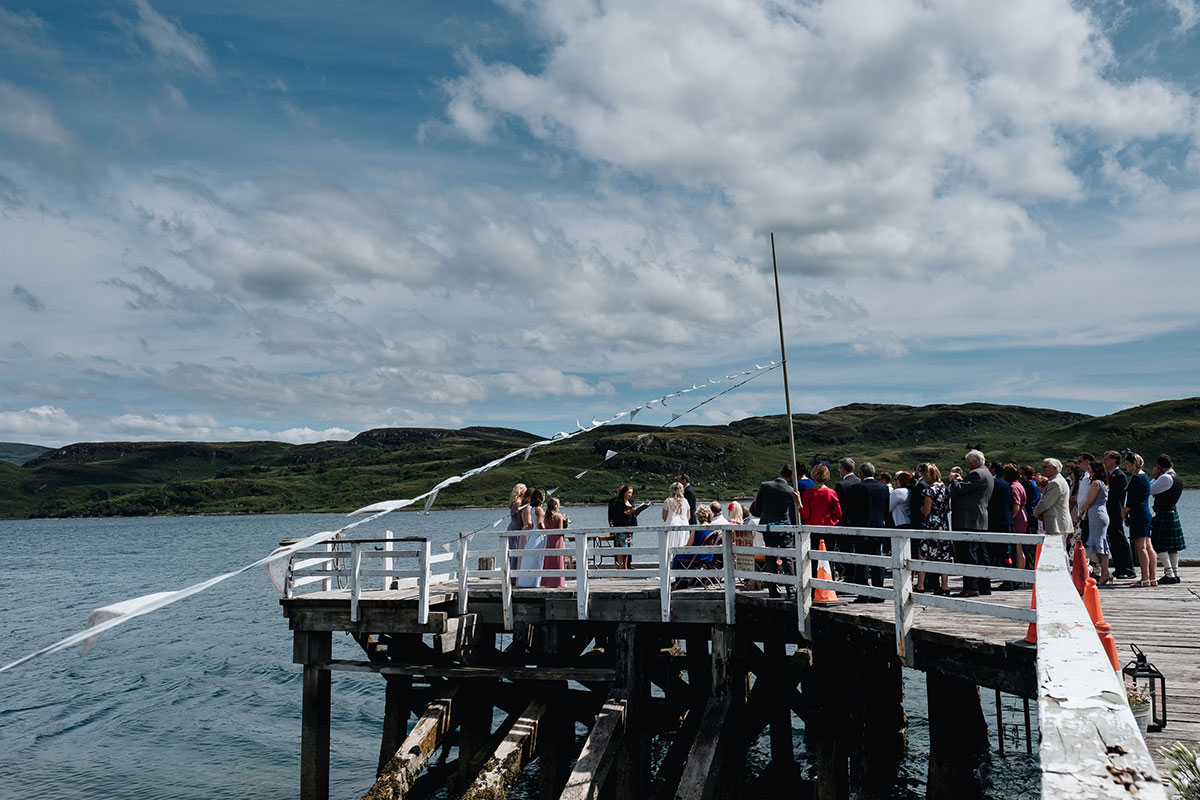 wedding ceremony outside at tighnabruaich pier