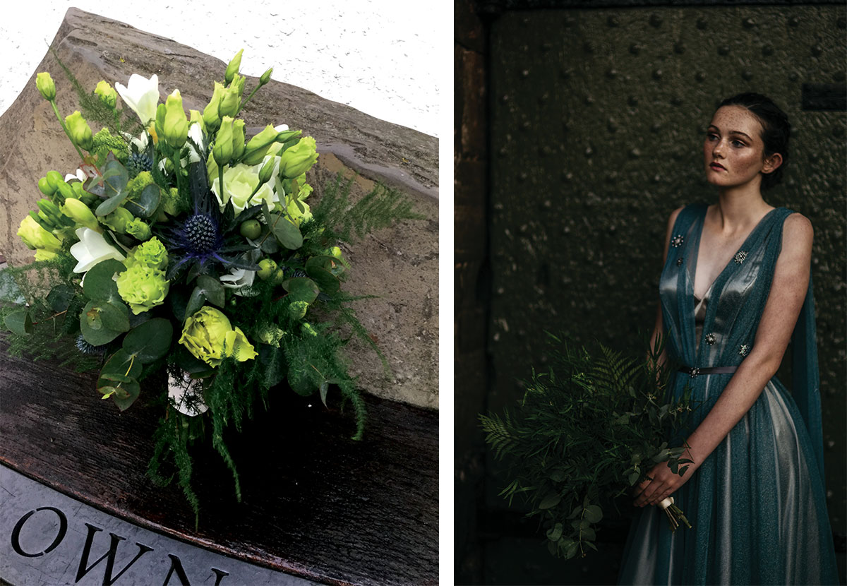 green wedding bouquet and bride in green dress holding foliage bouquet