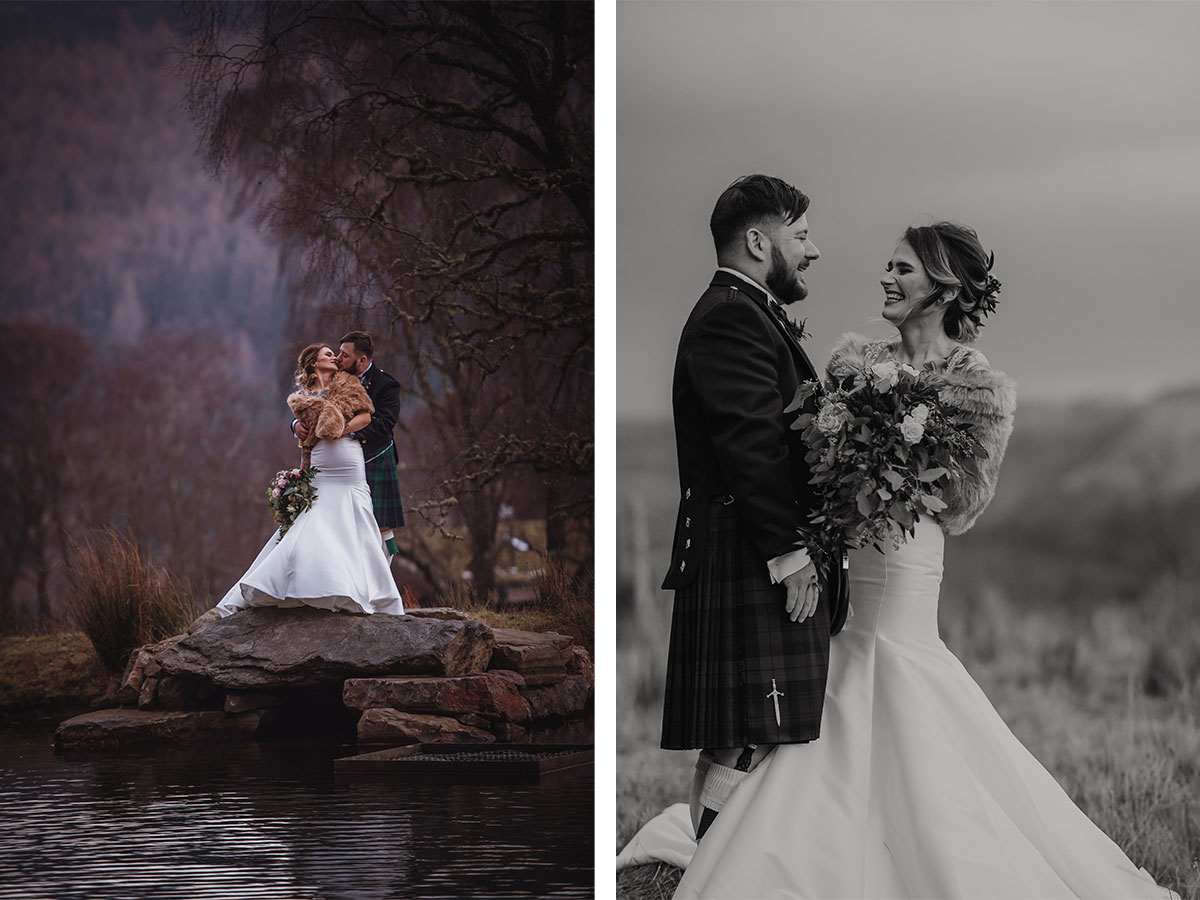 bride-and-groom-posing-by-the-water-at-the-lodge