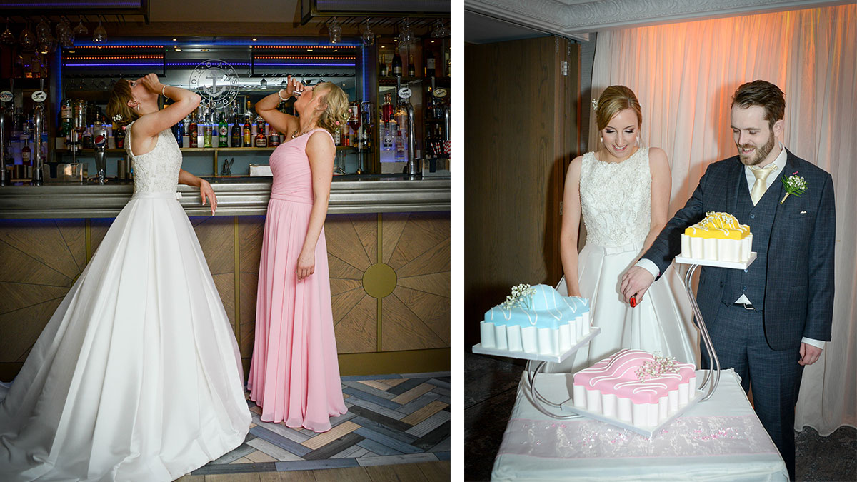 bride-and-bridesmaid-drinking-shots-and-bride-and-groom-cutting-french-fancie-cake