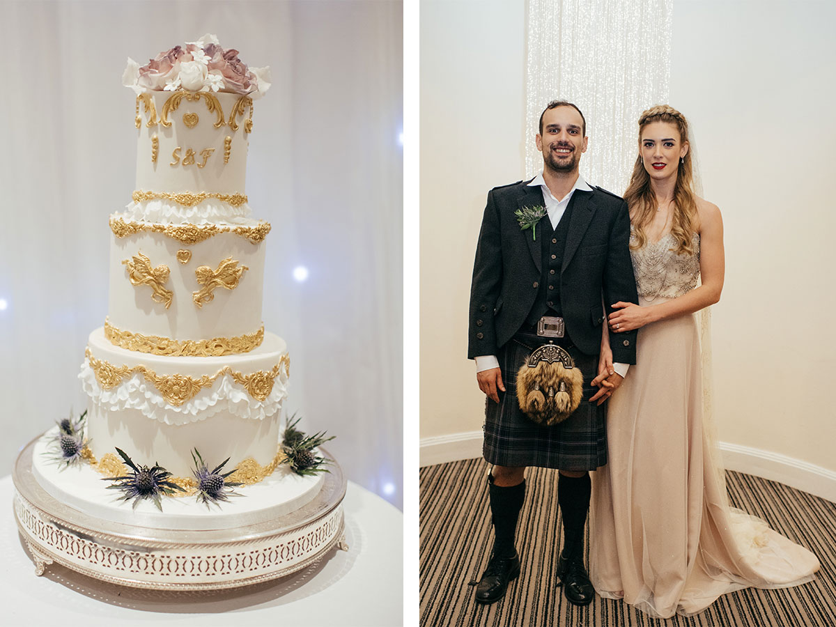 gold-wedding-cake-and-bride-and-groom