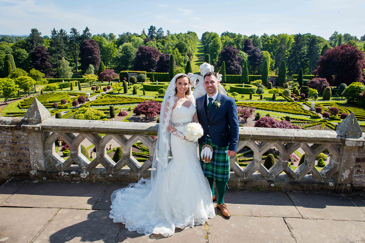 bride-and-groom-at-Drummond-Castle-Gardens