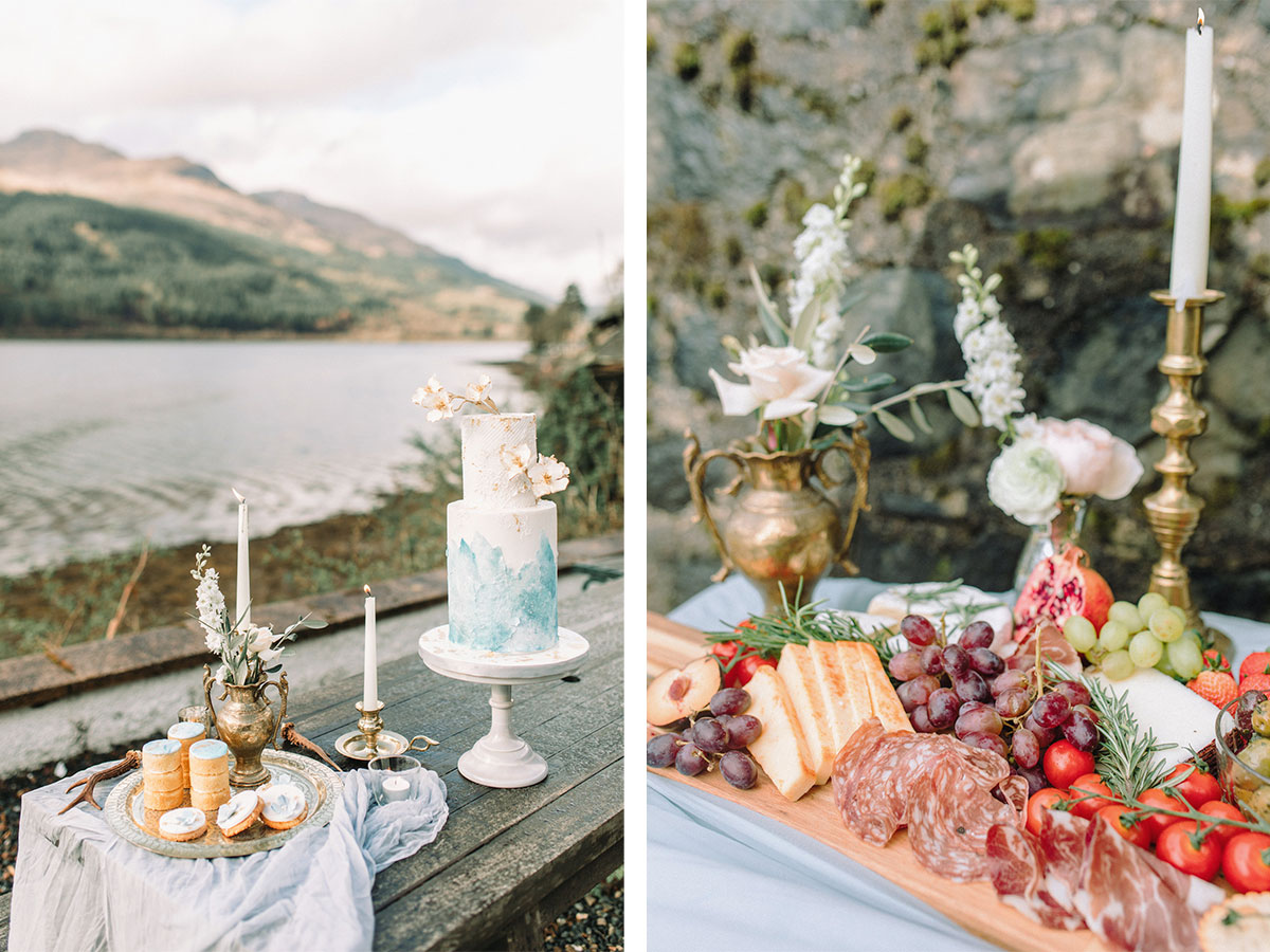 antipasti-platter-and-wedding-cake-with-gold-decor-items