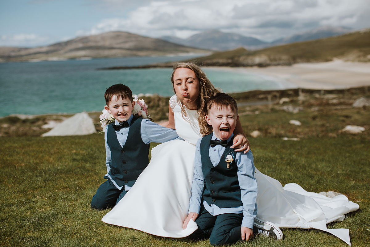 bride-messing-around-with-page-boys