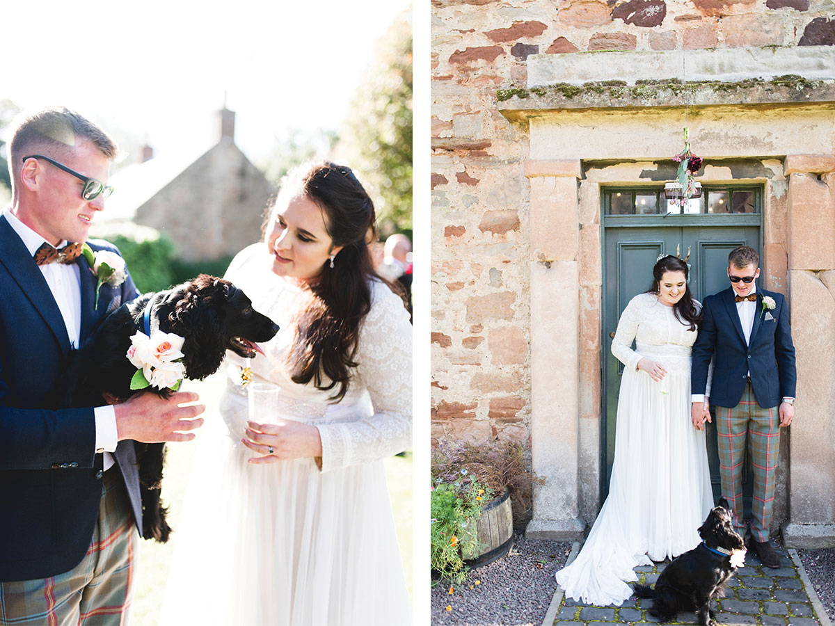 couple-posing-with-dog-for-wedding-photos