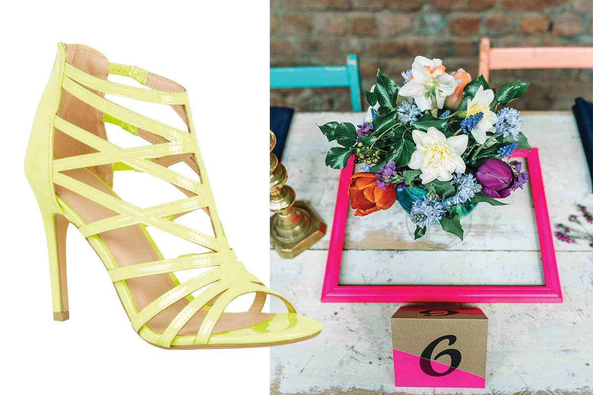 neon-yellow-heels-and-wedding-table-set-up-with-flowers