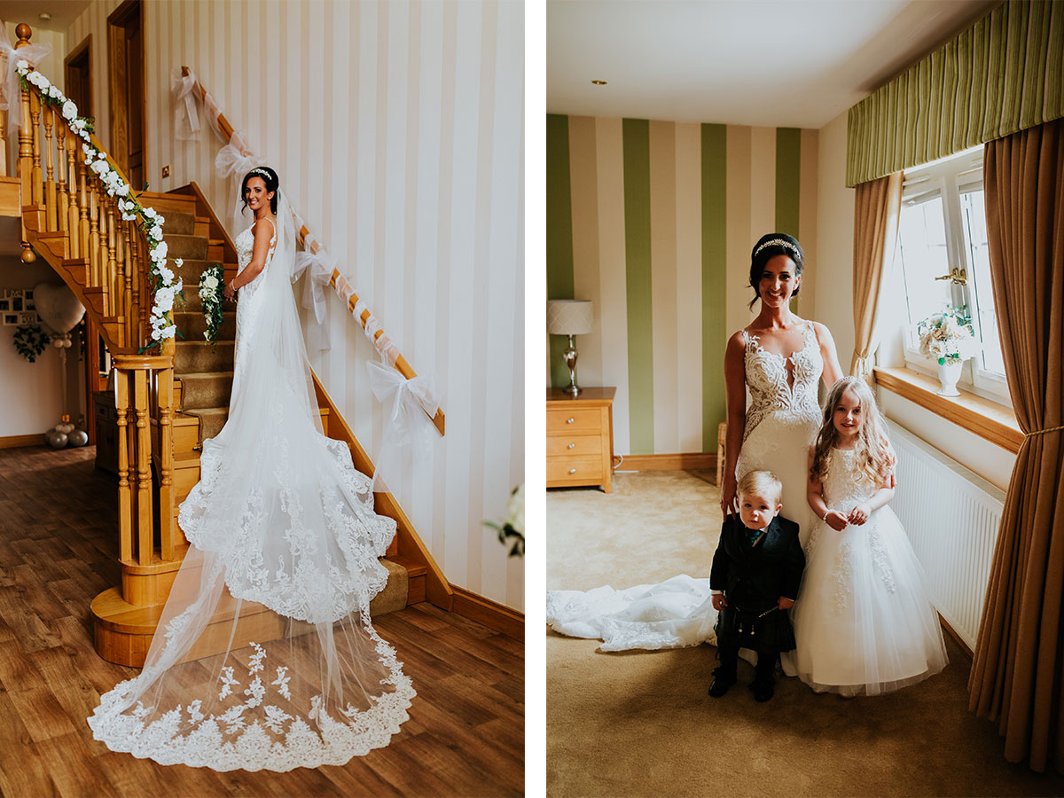 bride-posing-on-stairs-in-long-lace-wedding-dress