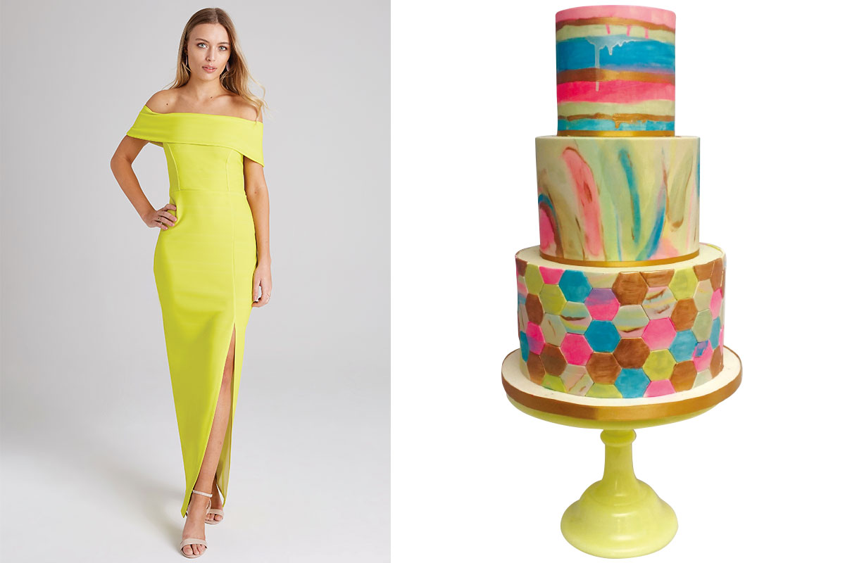 yellow-neon-dress-and-neon-cake-by-jappacakes