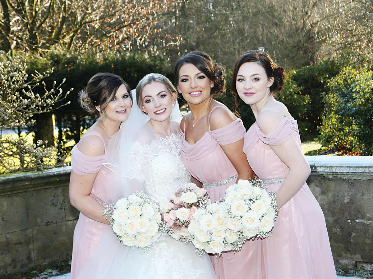 bride-and-bridesmaids-in-pink-gowns