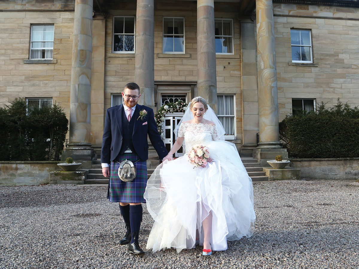 bride-and-groom-outside-balbirnie