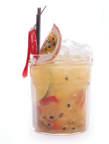 Passionfruit and chilli Caipirinha