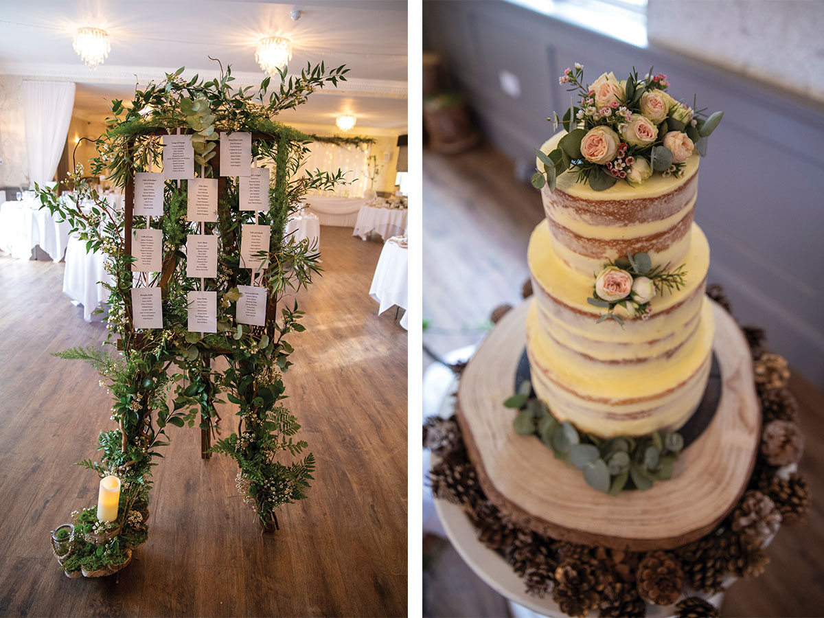 naked-wedding-cake-and-seating-plan-with-foliage