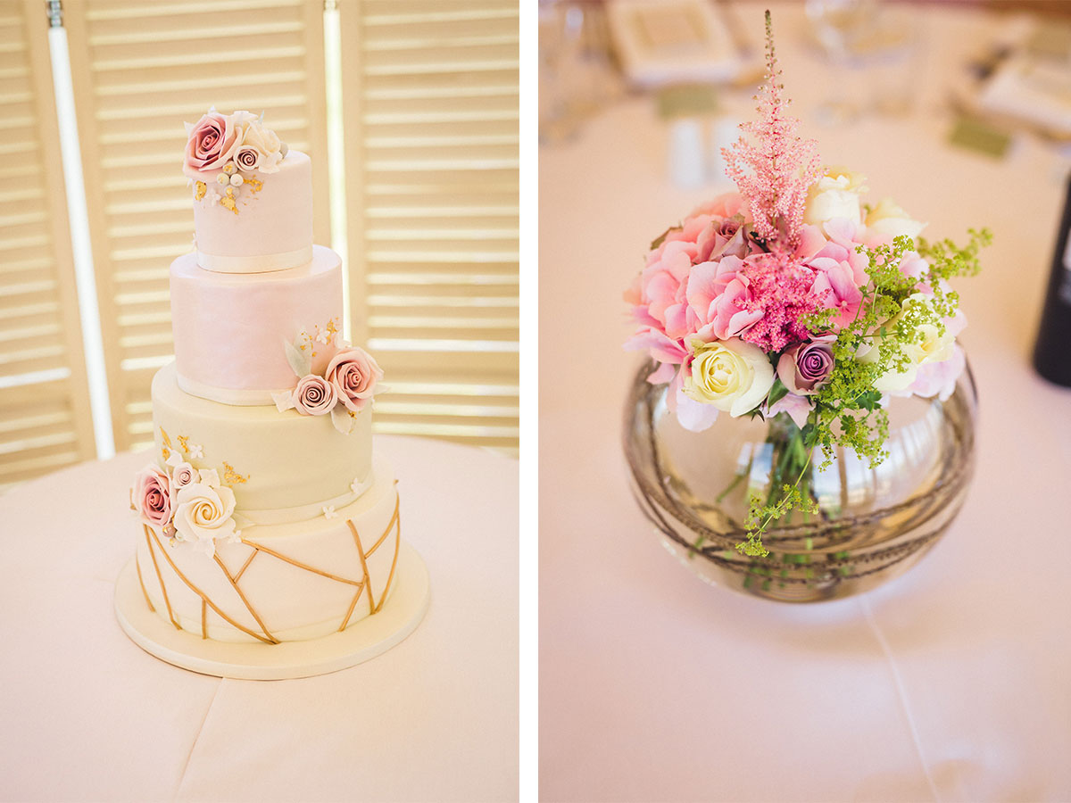 pink-and-cream-wedding-cake-and-centrepieces