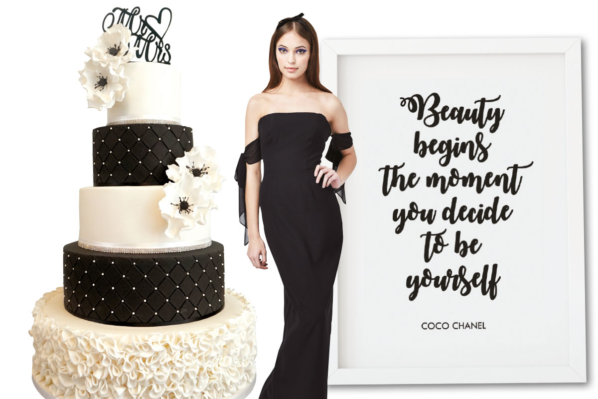 black-and-white-cake-bridesmaid-dress-and-print