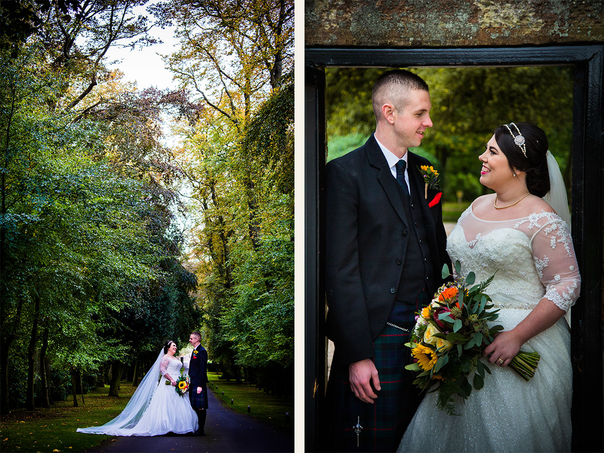 bride-and-groom-in-grounds-of-carlowrie-castle
