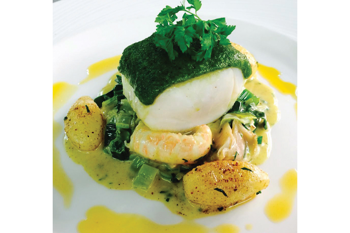 lochness_Herb-Crusted-Salt-Cod-Fondue-of-Leeks-Langoustines-and-Surf-Clams,-Shellfish-Potatoes-and-Langoustine-Oil