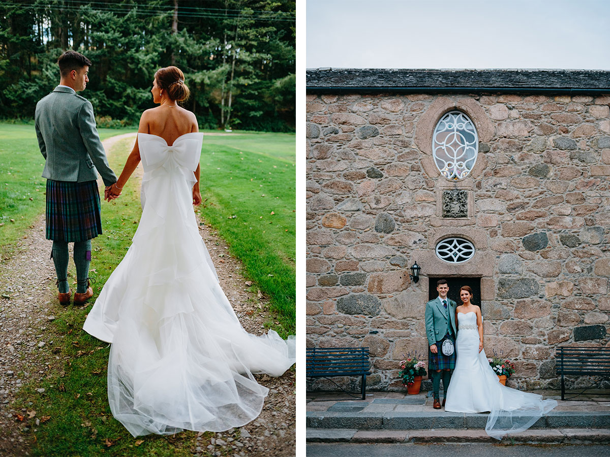 bride-with-bow-on-back-of-her-dress-with-groom-in-green-tweed-and-tartan-kilt-outfit