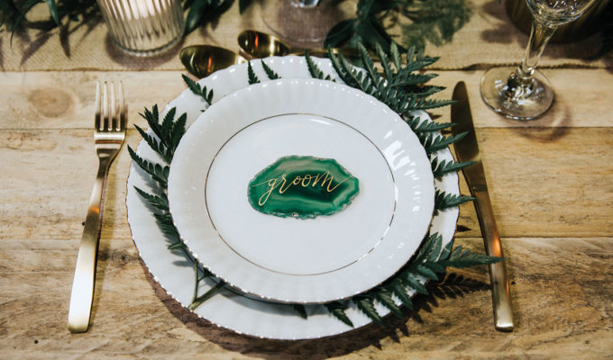 green-agate-place-setting-with-fern-on-wedding-breakfast-table