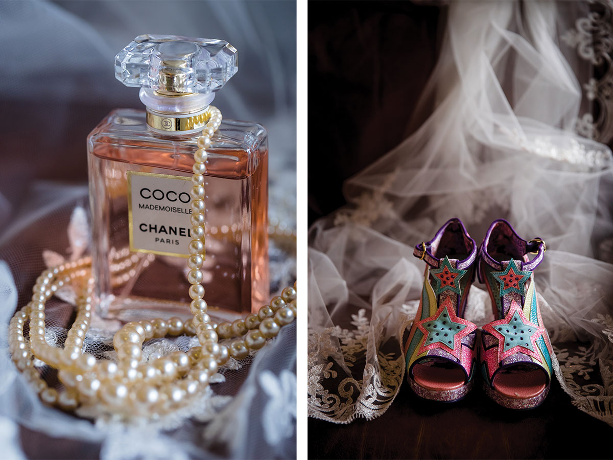 coco mademoiselle against bridal shoes and veils