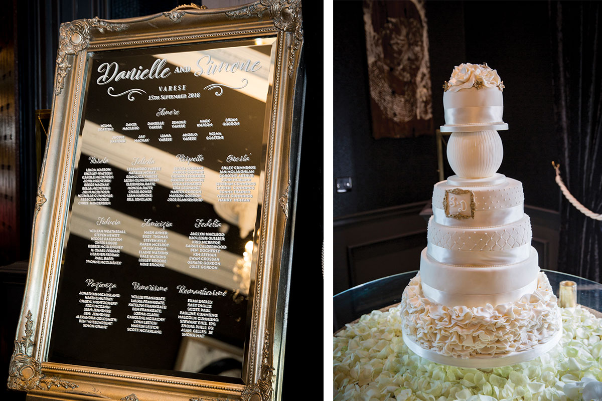 embossed-mirror-with-table-plan-and-five-tier-wedding-cake