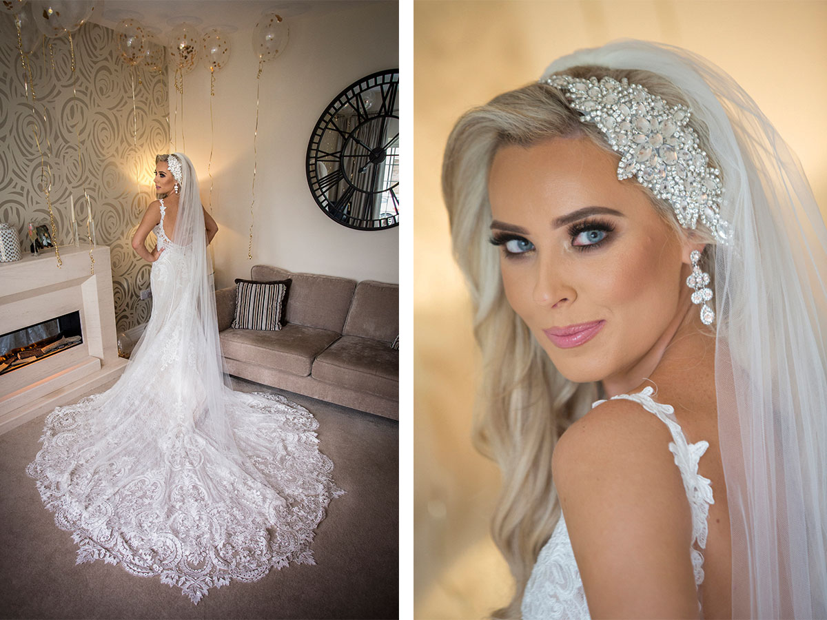 bride-wearing-long-veil-and-lace-dress-with-train
