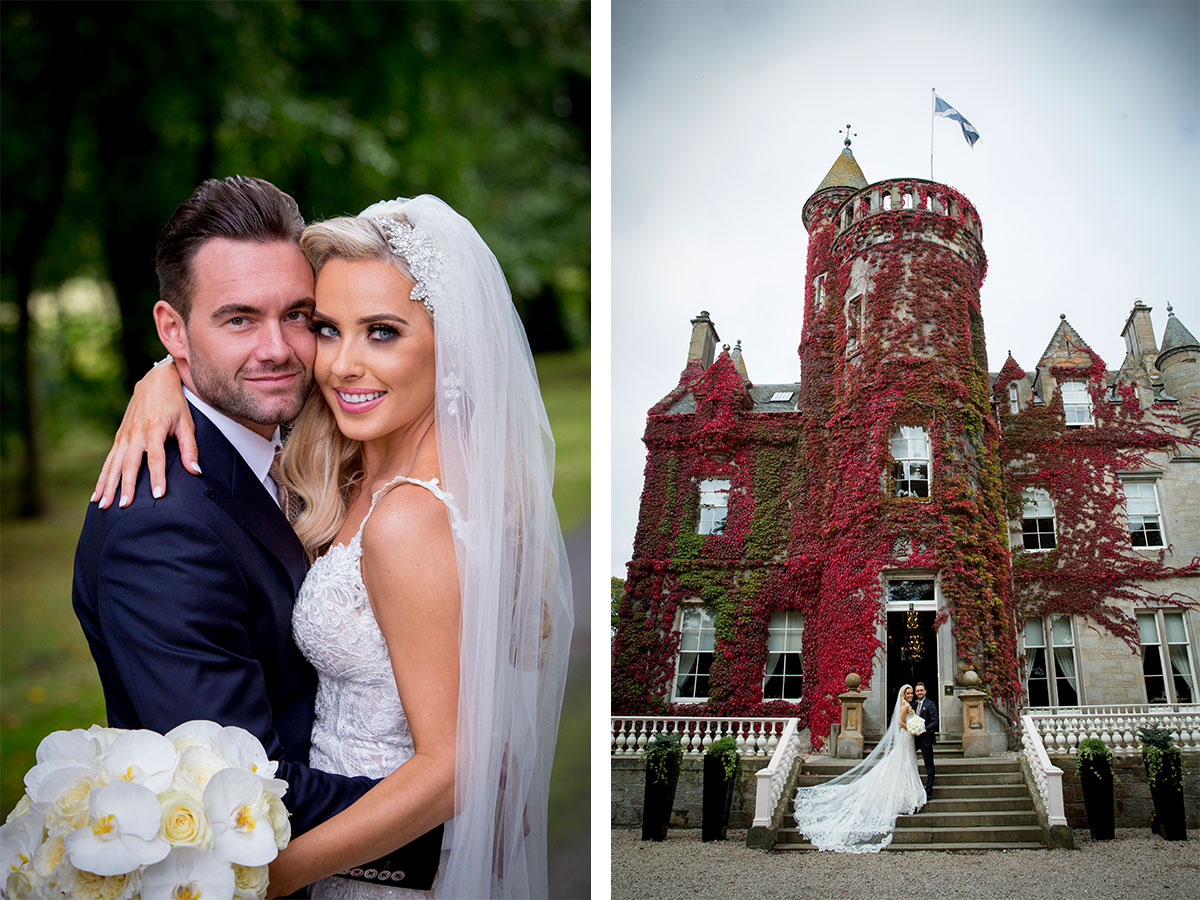 bride-and-groom-wearing-blue-suit-outside-castle