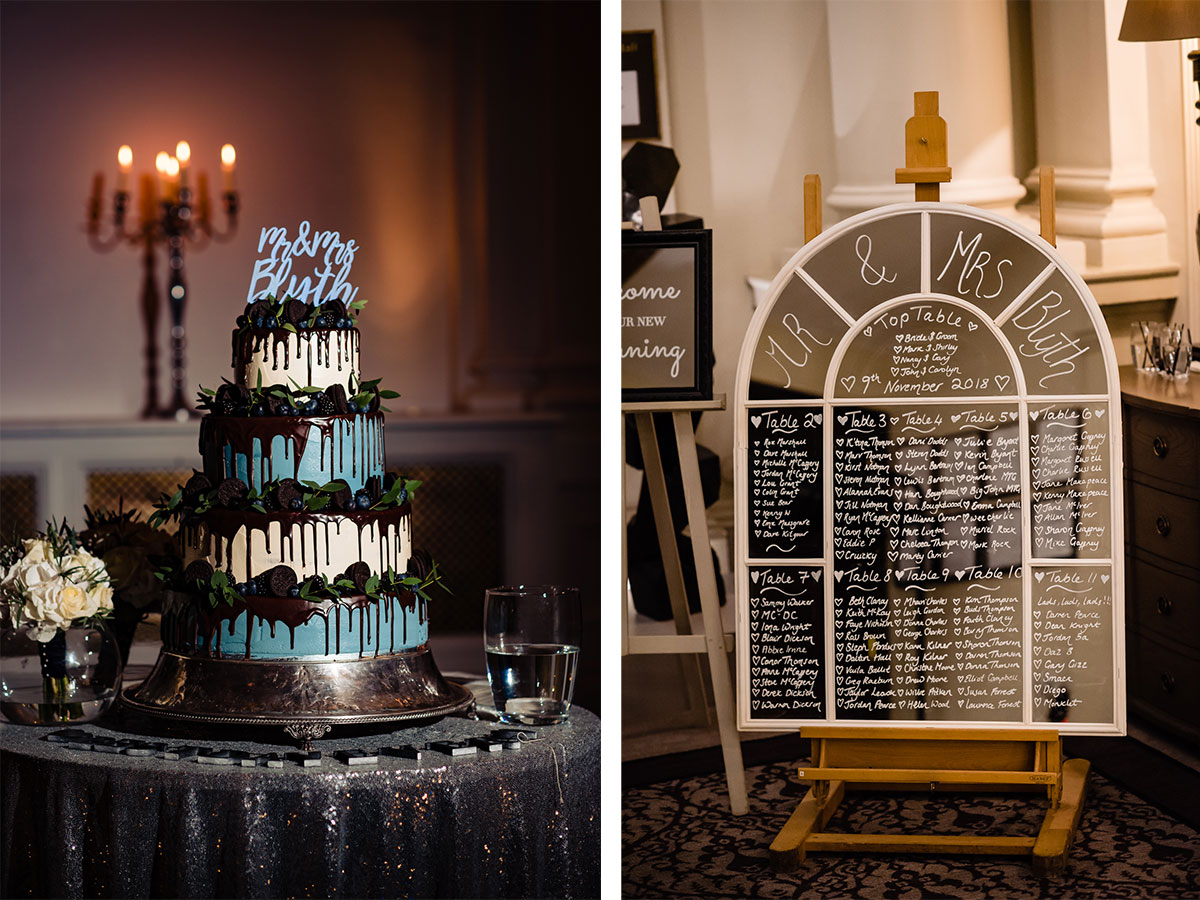 table-plan-and-white-and-blue-wedding-cake-with-chocolate-drip