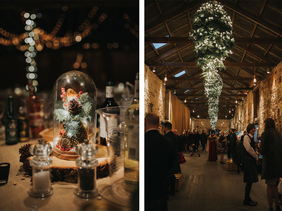wedding-table-centrepieces-with-robins-and-holly-and-kinkell-byre-interior