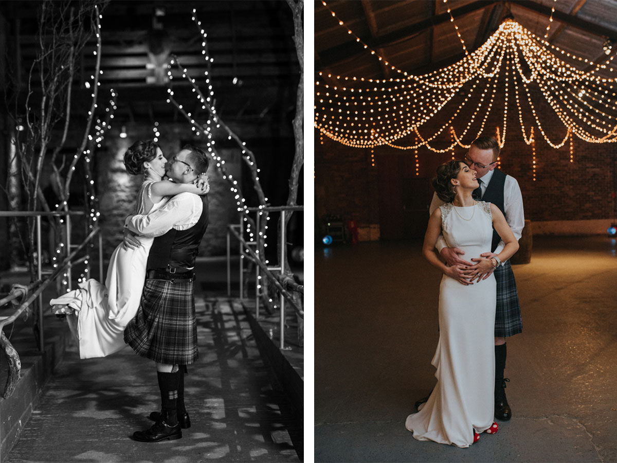 bride-and-groom-inside-kinkell-byre-with-fairy-lights-on-ceiling