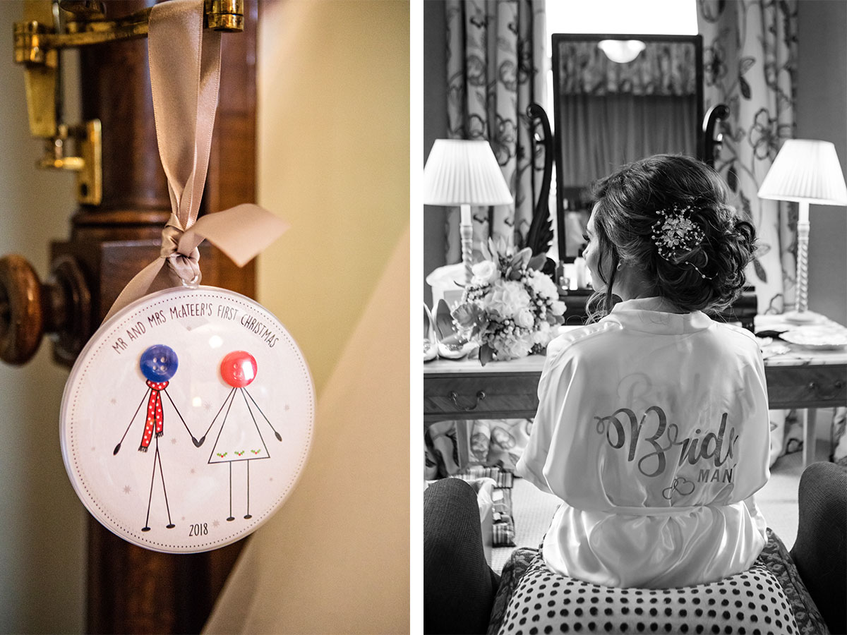 personalised-christmas-bauble-and-bride-having-her-hair-done