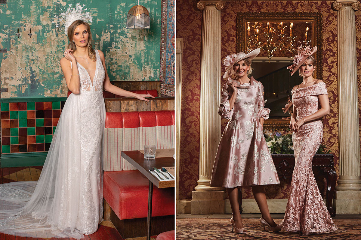 model wearing a wedding dress; two models wearing mother of the bride occasionwear
