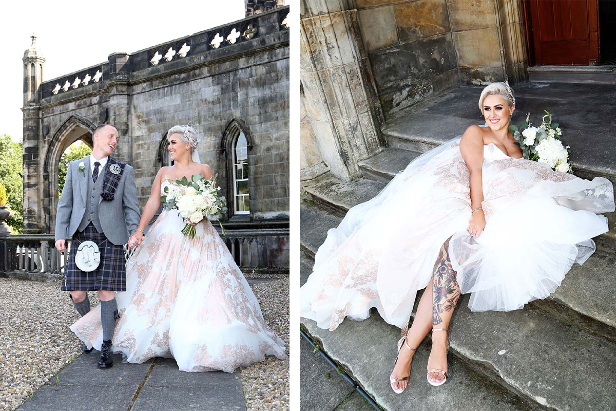 bride-in-floral-metallic-wedding-dress-with-groom-in-grey-kilt-outfit