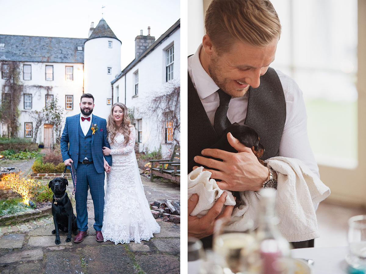 black-lab-with-bride-and-groom-and-puppy-wrapped-up-in-blanket