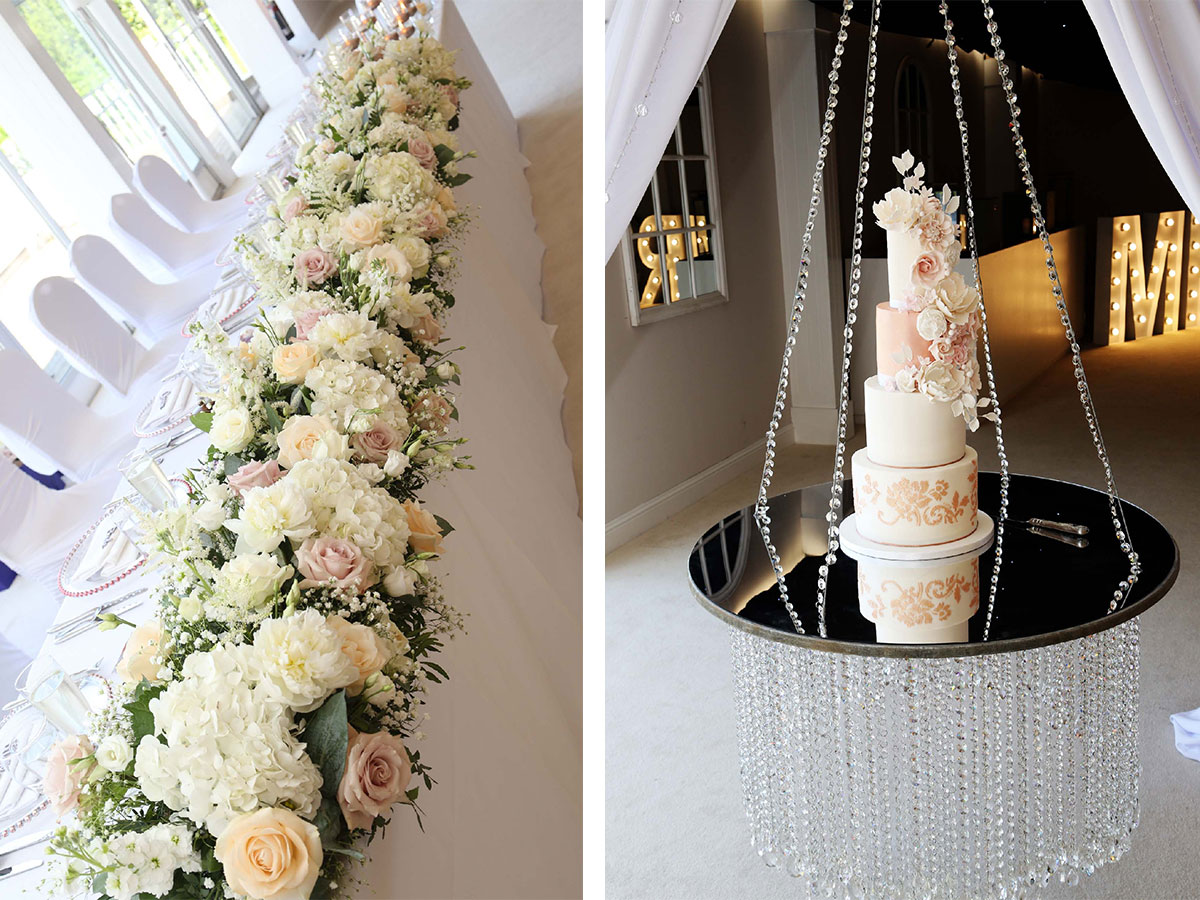 floral-table-runner-and-wedding-cake-on-floating-shelf