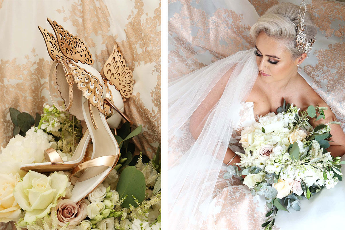 butterfly-high-heels-and-bride-holding-bouquet