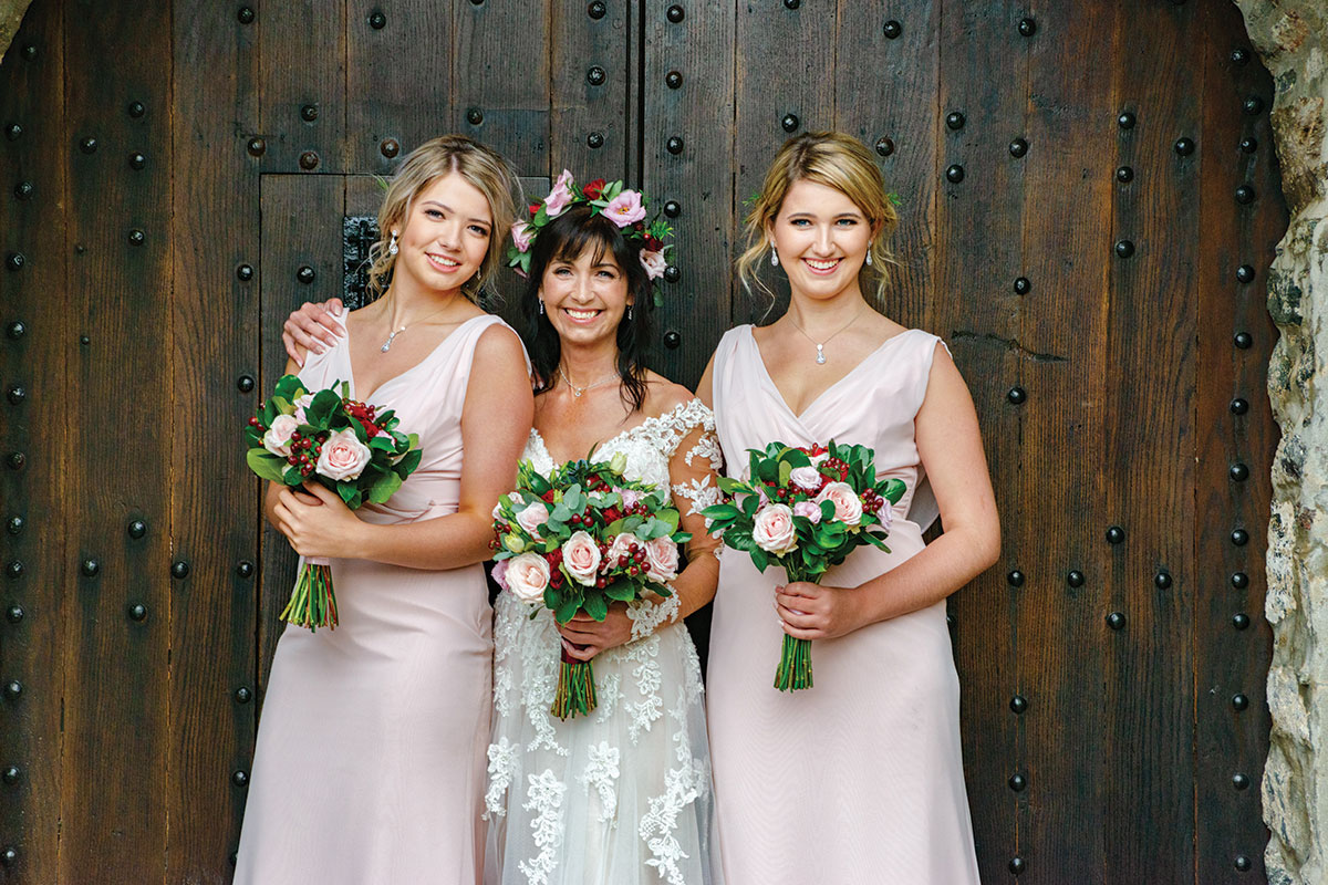 bride-and-bridesmaids-bright-flowers