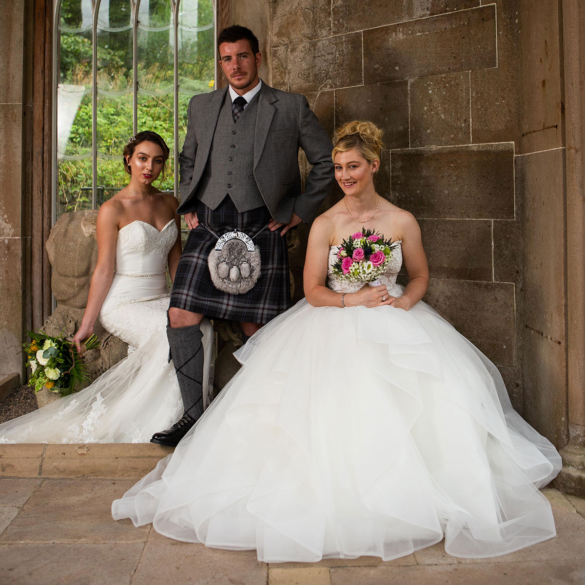 bridal-models-and-groom-wearing-grey-kilt-outfit