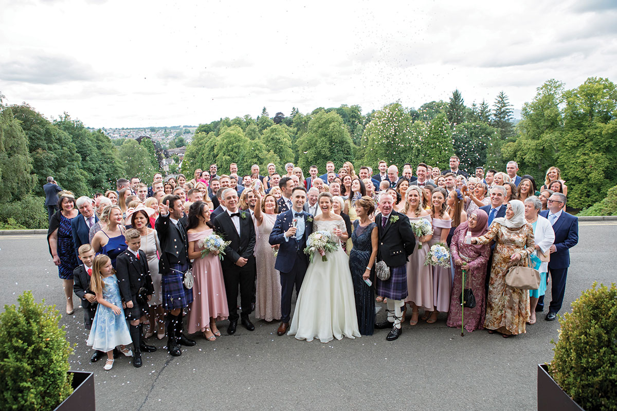 wedding-party-outside-dunblane-hydro