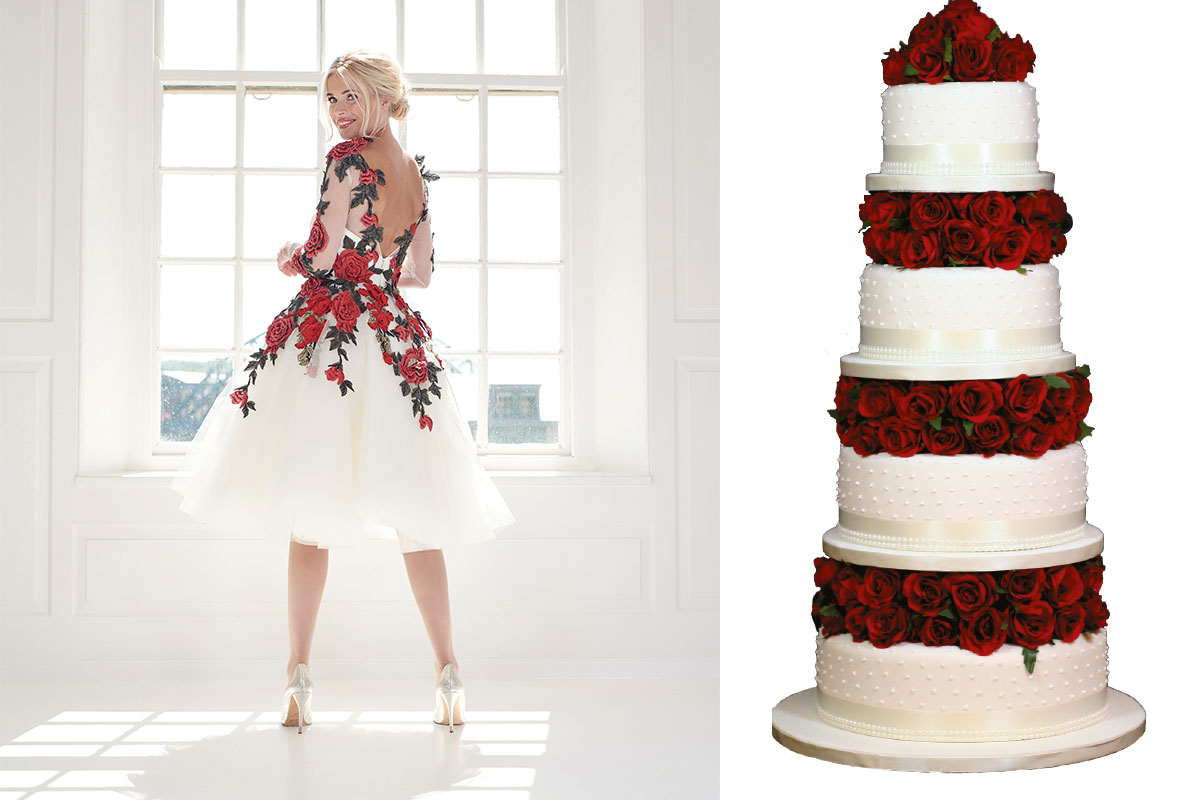 mooshki-dress-and-four-tier-wedding-cake-with-red-roses