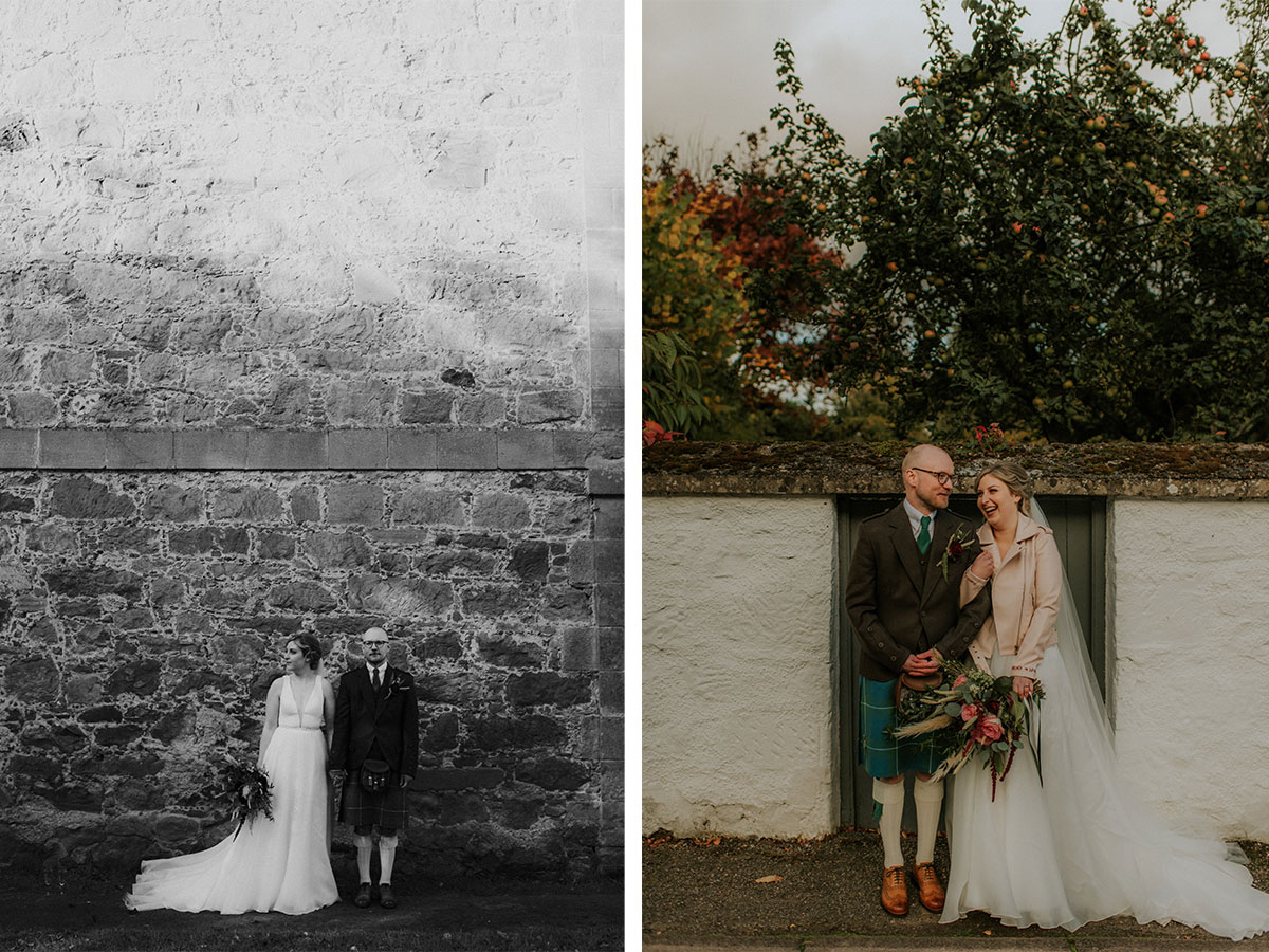bride-and-groom-in-front-of-brick-wall