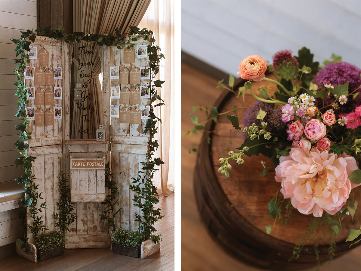 rustic-seating-chart-and-floral-display-in-jar