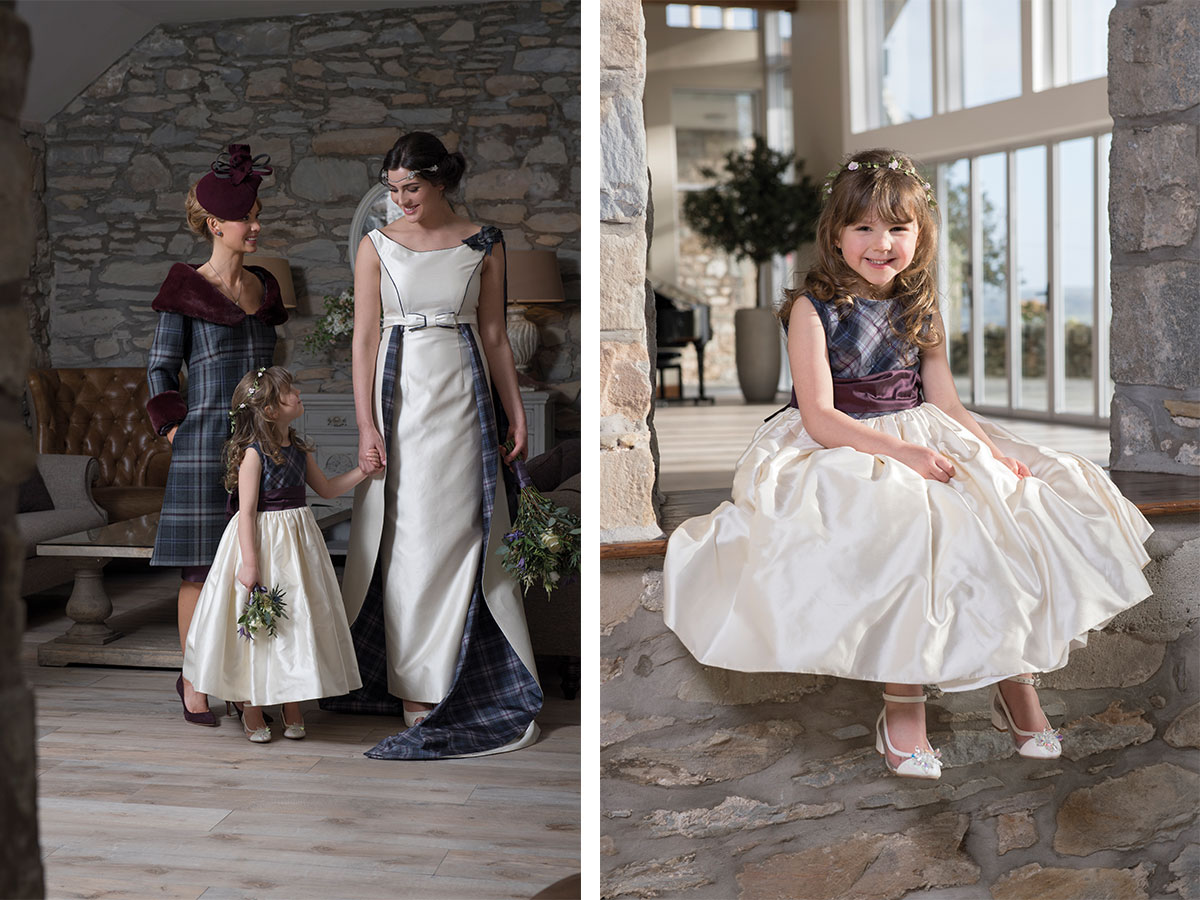 joyce-young-mother-of-the-bride-outfit-flowergirl-and-bridal-gown-with-tartan-skirt