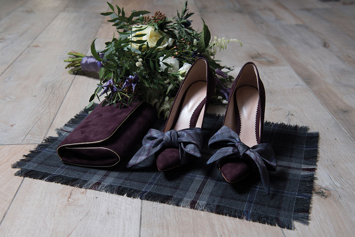 purple-shoes-with-tartan-bows-and-scottish-bridal-bouquet