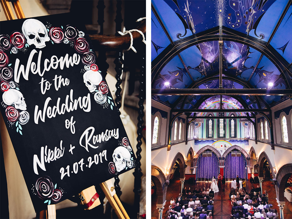 custom-wedding-sign-with-roses-and-skulls-and-the-ceremony-room-at-oran-mor